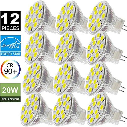 MR11 GU4.0 LED Bulbs, 12V AC/DC Flood Light Bulb, GU4 Base, 2W (20W Equivalent), 4000K (Daylight White) SANSUN LED Spot Light Bulb (Pack of 12) 20w Spot Bulb