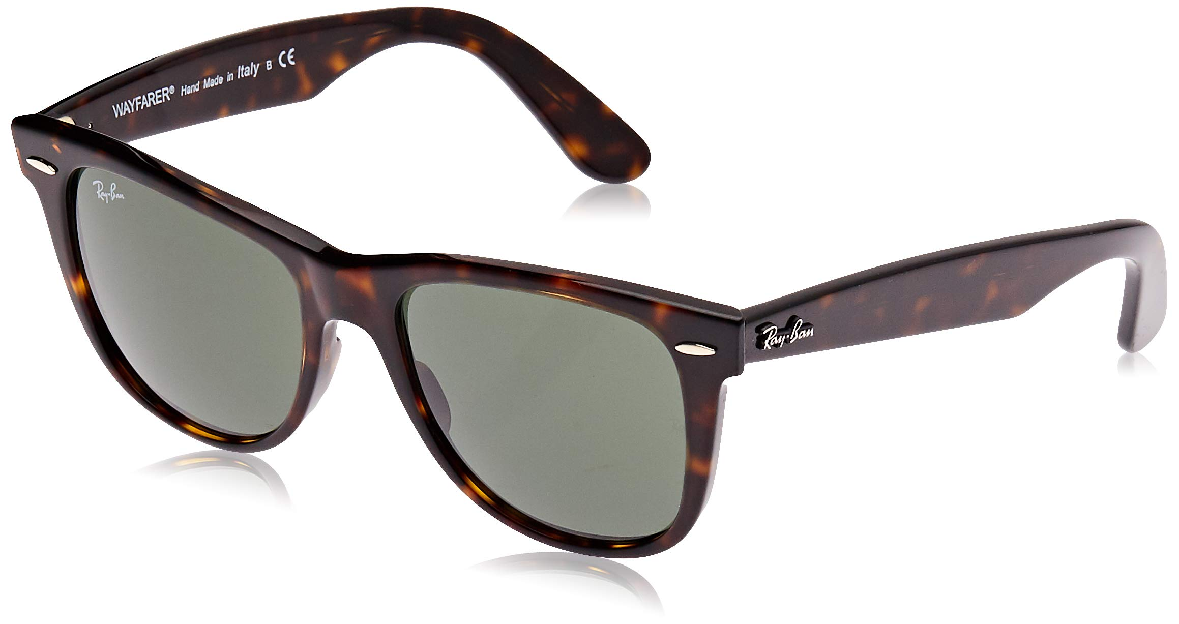 Ray-Ban RB2140 Wayfarer Sunglasses, Tortoise/Green, 54 mm by RAY-BAN