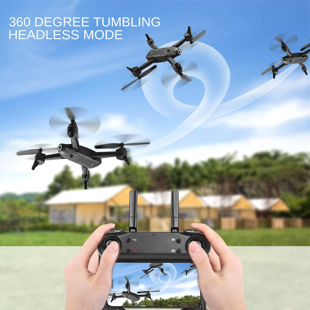 ALLCACA FPV RC Drone with Dual 720P HD Camera Live Video, Gesture Control WiFi Quadcopter with 3D Flips, GPS Return Home, Headless Mode, Gravity Sensor, Altitude Hold for Kids Beginners, Black by allcaca (Image #4)