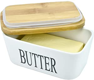 WEFOO Large Butter Dish 22 oz (650ml), Airtight Butter Keeper Butter Container, Porcelain Butter Keeper Container with Bamboo Lid & Seal Ring