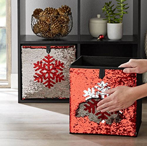 Mainstays Sequin Reversible Collapsible Fabric Storage Cube Bin, Set of 2 (Red/Silver ()
