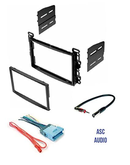 ASC Audio Double Din Car Stereo Dash Kit, Wire Harness, and Antenna on