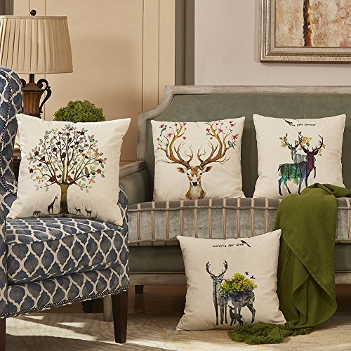 MingBo Pack of 4 Deer Throw Pillows Covers Velvet Decorative Throw Pillows for Couch Sofa Bed Room, 18 x 18 inches, Deer and Live Trees