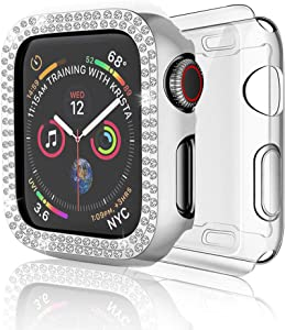 DSYTOM Case Compatible with Apple Watch Band 38mm, Bling PC Full Cover Bumper & TPU Soft Screen Protector Case 2 Pack for iWatch Series 3/2/1 Women Girl(38MM,Silver + Clear)