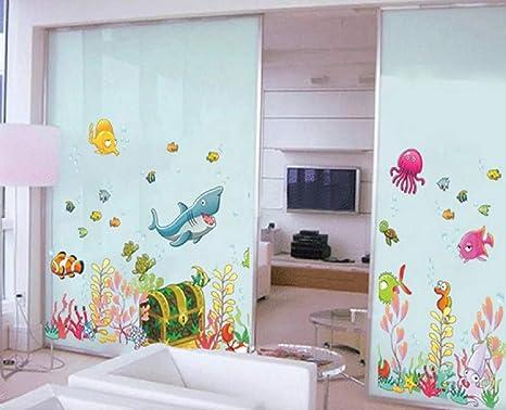 WandSticker4U- Wandtattoo UNTERWASSERWELT mit Schatztruhe | Wandbilder:  122x68 cm | Fische Sticker Meer Tiere Hai | Wasserfeste Fliesen-aufkleber  Wand ...