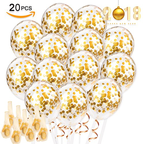 20 PCS Gold Confetti Party Balloons Bulk, 12 inches Giant Metallic Confetti Filled Round Balloon Set, for Party, Wedding, Birthday Decoration, Air and Helium Can Be - Yourself Minion Do It Costume