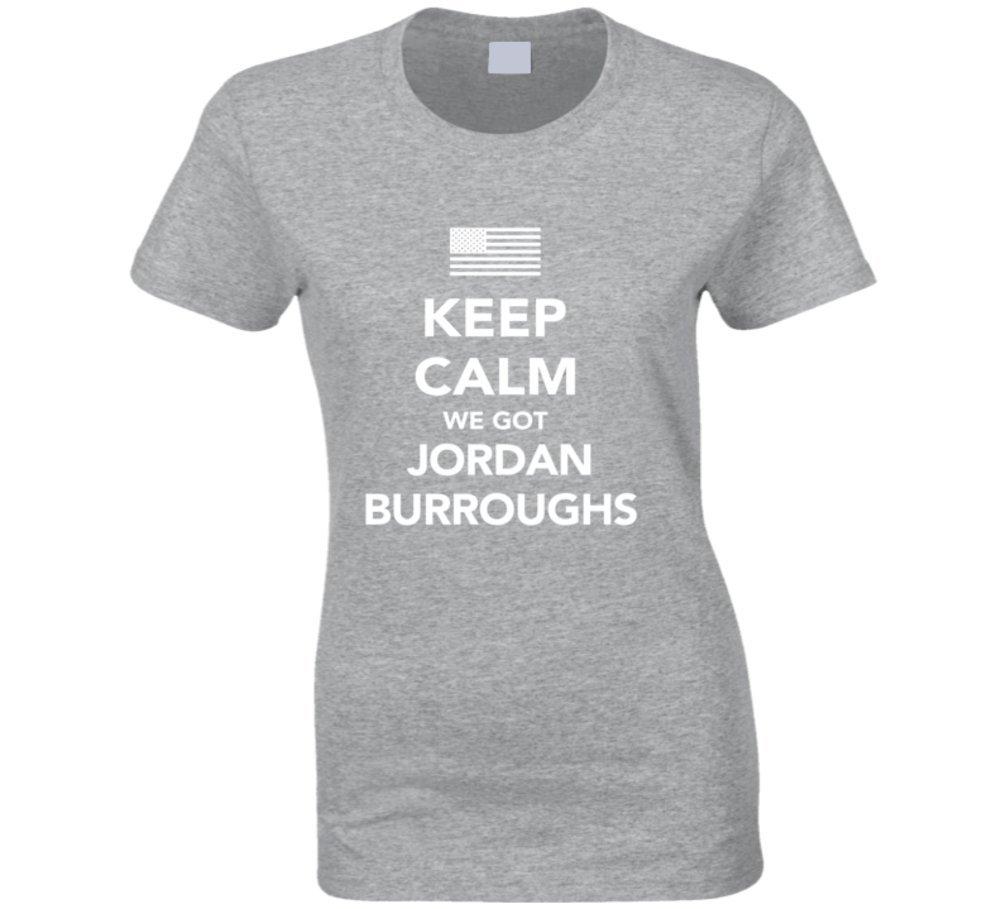 Jordan Burroughs Keep Calm USa 2016 Olympics Wrestling Ladies T Shirt 2XL Sport Grey