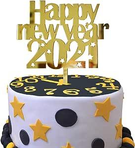 Happy New Year 2021 Cake Topper,Acrylic Glitter Little ...