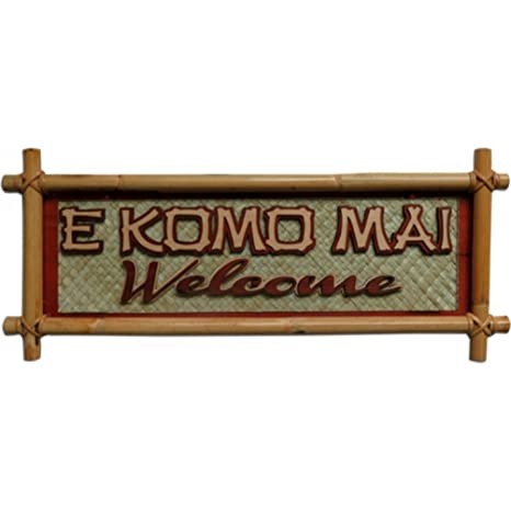 Amazon.com: Hawaiano cartel pequeño de bambú e Komo Mai ...