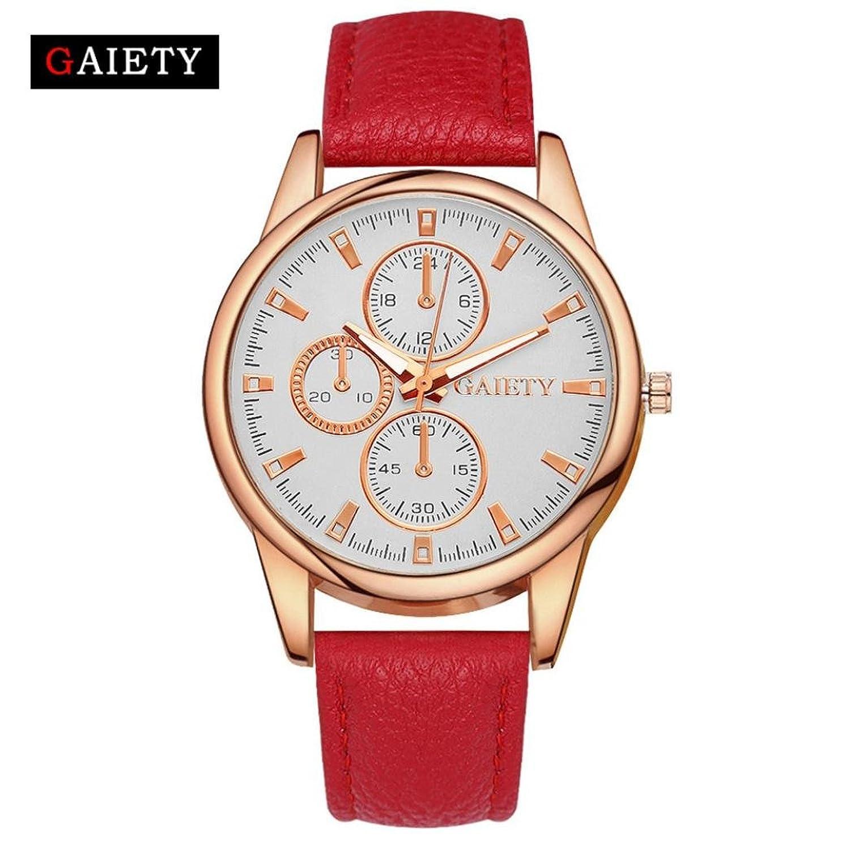 レディースシンプルレザー腕時計、Sinmaカジュアルゴールドフレーム腕時計アナログクオーツ腕時計 B071LFM9BV Purple