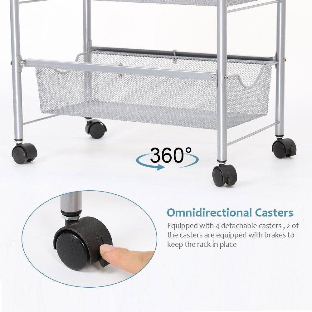 Amazon.com : NEX Storage Cart Organizer with Drawers Basket Wheels ...