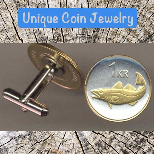 Krona Coin - Handmade Iceland 1 krona Codfish Cufflinks - Icelandic Gift for Him