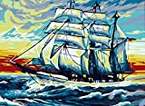 Greek Art Paintworks Paint Color By Number,Wind and Waves Boat,16-Inch by 20-Inch
