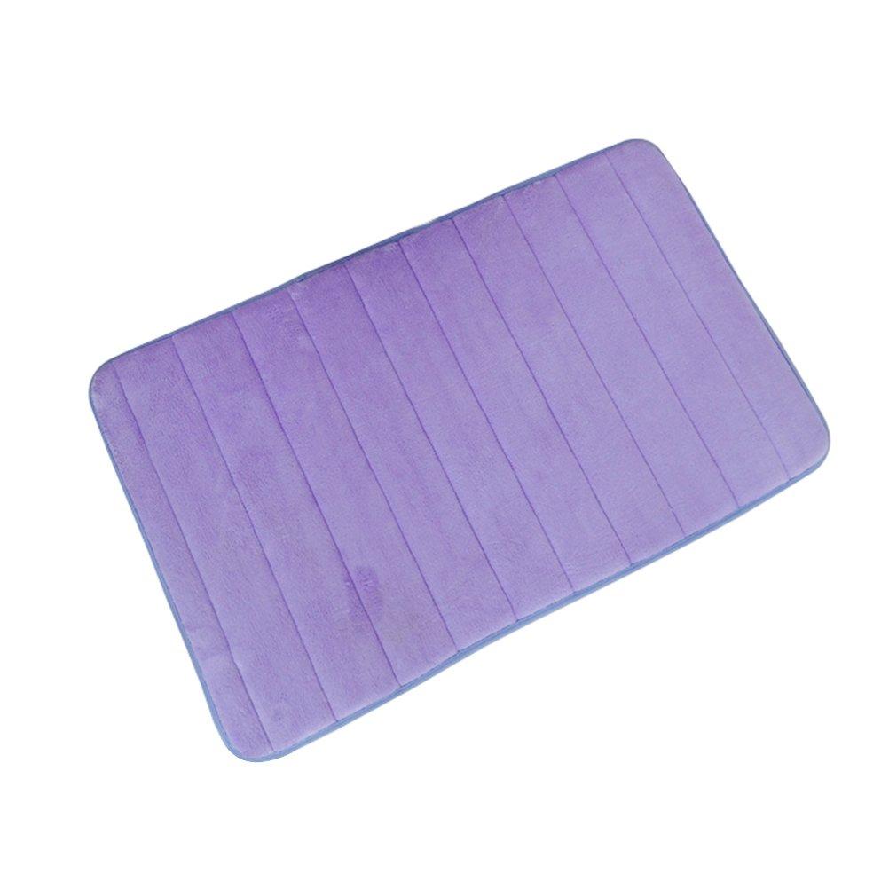 BESTOMZ Tapis de bain antidérapant de mousse de mémoire souple mince pour sol Porte sol cuisine 50x 80cm (Violet)