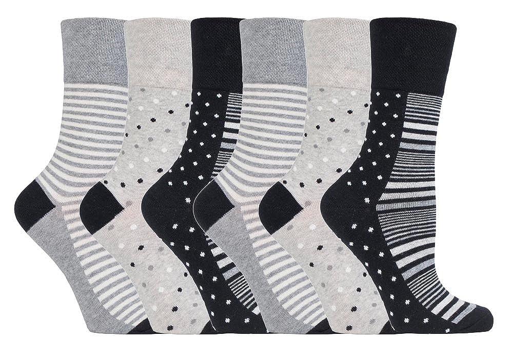6 paires Femme sans /élastique diab/étiques chaussettes pas de caoutchouc non comprimantes 37-42 eur Gentle Grip