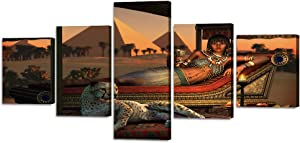 """Modern Printed Painting on Canvas Wall Art An Ancient Egyptian Lady and a Tame Cheetah Artwork Picture for Living Room Giclee Home Decor Gallery-wrapped Wooden Framed Ready to Hang(50""""Wx24""""H)"""