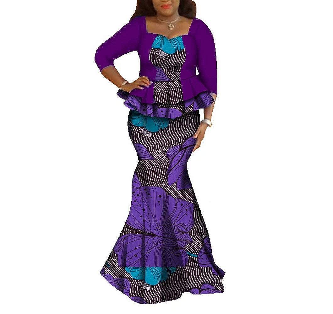 24fs1181 BintaRealWax Womens Elegant African Skirts Set 2 Piece Ankara Peplum Tops & Mermaid Skirt