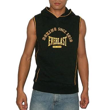 e628e5ec56d56 EVERLAST Mens Athletic Sleeveless Pullover Hoodie Sweatshirt   Vest - Black    Orange (Size