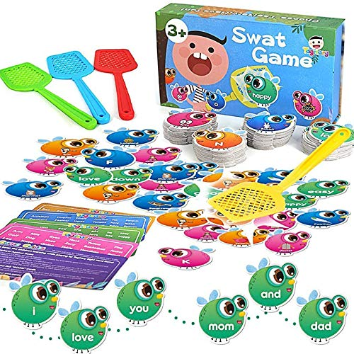 Tagitary Sight Word Games 112 Pieces Swat a Sight Word Game Times Learning Table Card Educational Toys for 3, 4, 5, 6, 7…
