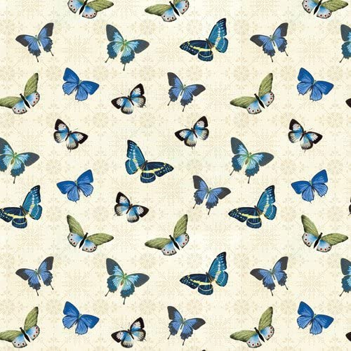 1 Yard X 44 1 Yard Great for Quilting, Sewing, Craft Projects, Quilt, Throw Pillows /& More Blue Notes Butterflies Cotton Fabric