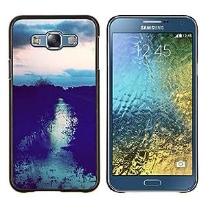 EJOOY---Cubierta de la caja de protección para la piel dura ** Samsung Galaxy E7 E700 ** --Sunset Campo Después Sky Night View