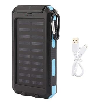 PGIGE 300000mAh Lazy Dual USB Cargador de batería Externo de Emergencia portátil, teléfono móvil Ultra Delgado Banco de energía Solar - Azul y Negro