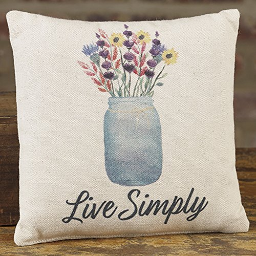 Mason Jar Live Simply 8 x 8 Canvas Decorative Throw Pillow - Pillow Mason Collection