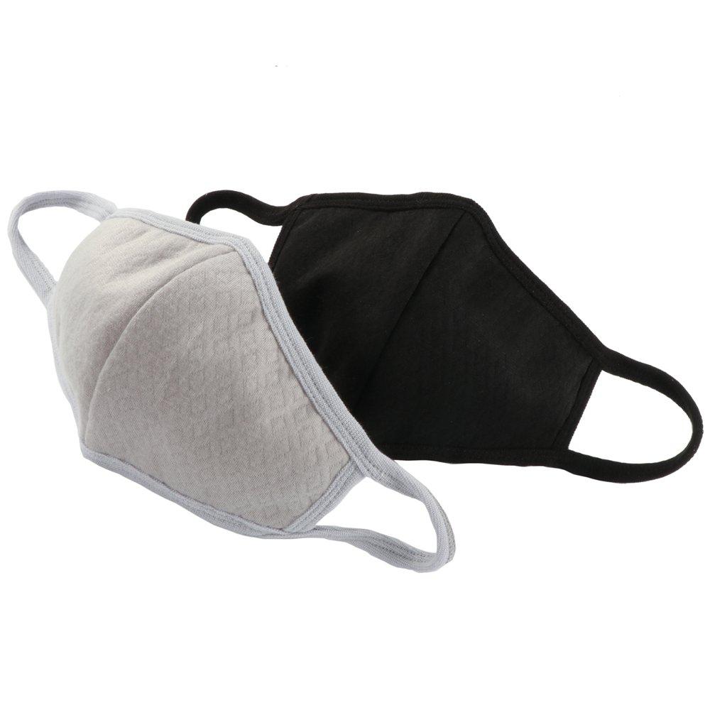 Golden Rule 2 paquetes adultos má scaras de carbó n activado algodó n antipolvo caliente moda boca cara má scaras para mujeres y hombres (negro y gris)