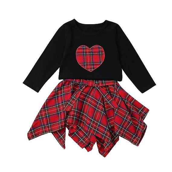 Xmiral 2 Piezas Combinación de Camiseta con Falda de Cuadros ...