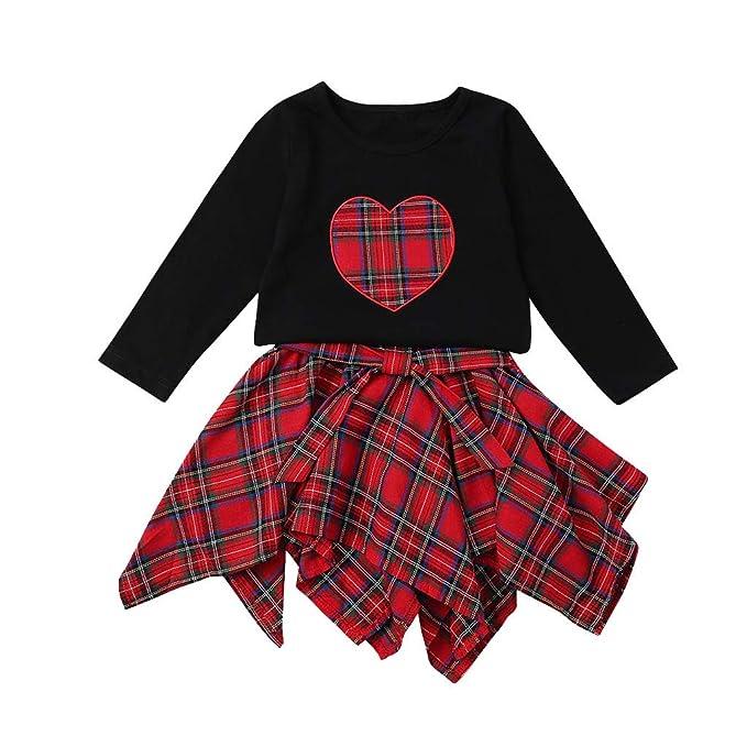 Cinnamou Conjuntos Tops y Faldas para Niñas, Amor Camiseta de ...