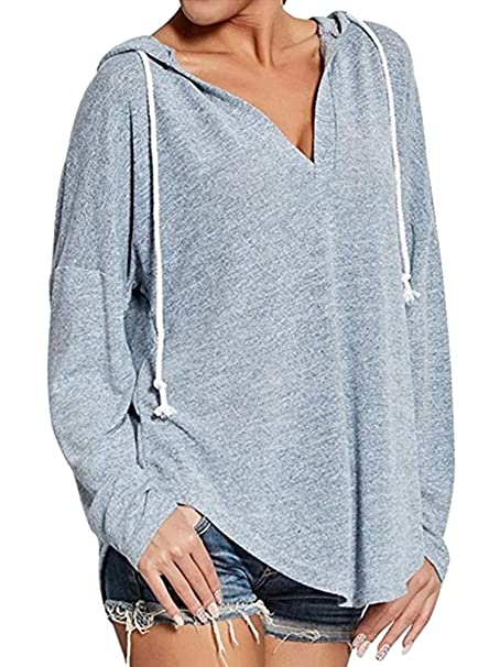 Minetom Mujeres Hoodie De Cuello V Blusa Sudadera Sweatshirt Manga Larga Pullover Outwear Tops Casual Sudadera con Capucha: Amazon.es: Ropa y accesorios