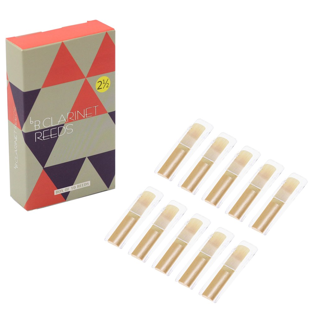 Kormest Clarinet Reeds Strength 2.5,Traditional Instrument Clarinet Parts,Box of 10 with Individual Plastic Case by Kormest (Image #1)