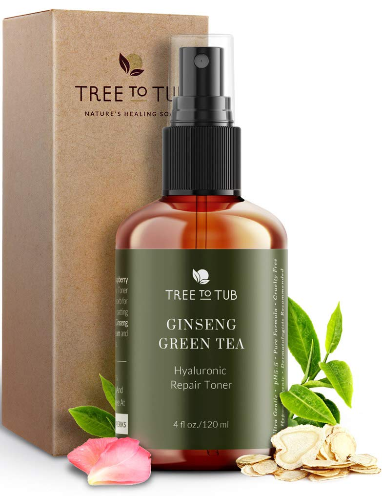 Deep Calming Toner Spray for Sensitive Skin by Tree To Tub-Hypoallergenic & pH 5.5 Balanced, Face Priming and Hydrating with Hyaluronic Acid, Organic Witch Hazel, Rose Water, Ginseng, Green Tea, 4 oz by Tree to Tub
