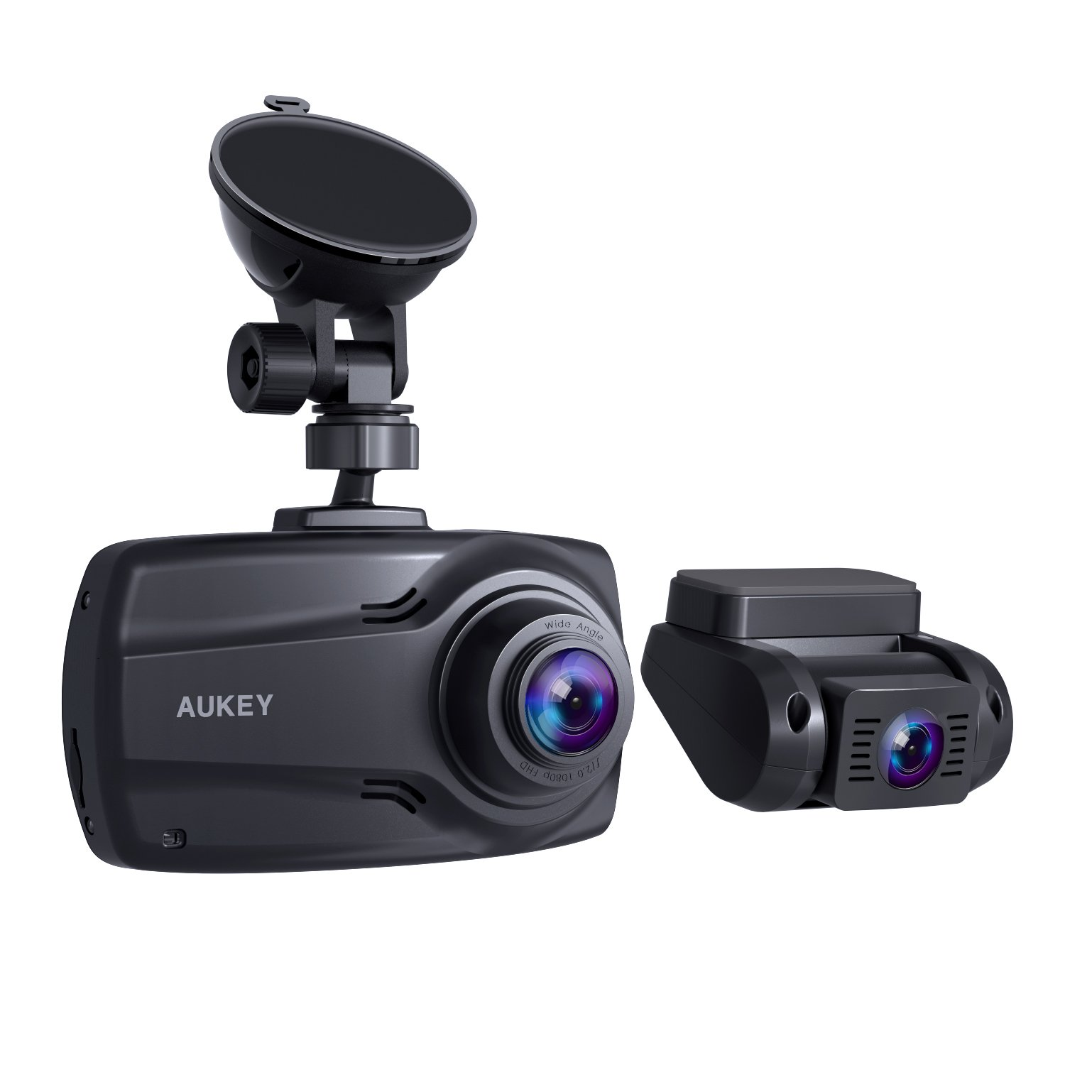 """AUKEY 1080p Dual Dash Cams with 2.7"""" Screen, Full HD Front and Rear Camera, 6-Lane 170° Wide-Angle Lens, G-Sensor, and Dual-Port Car Charger"""