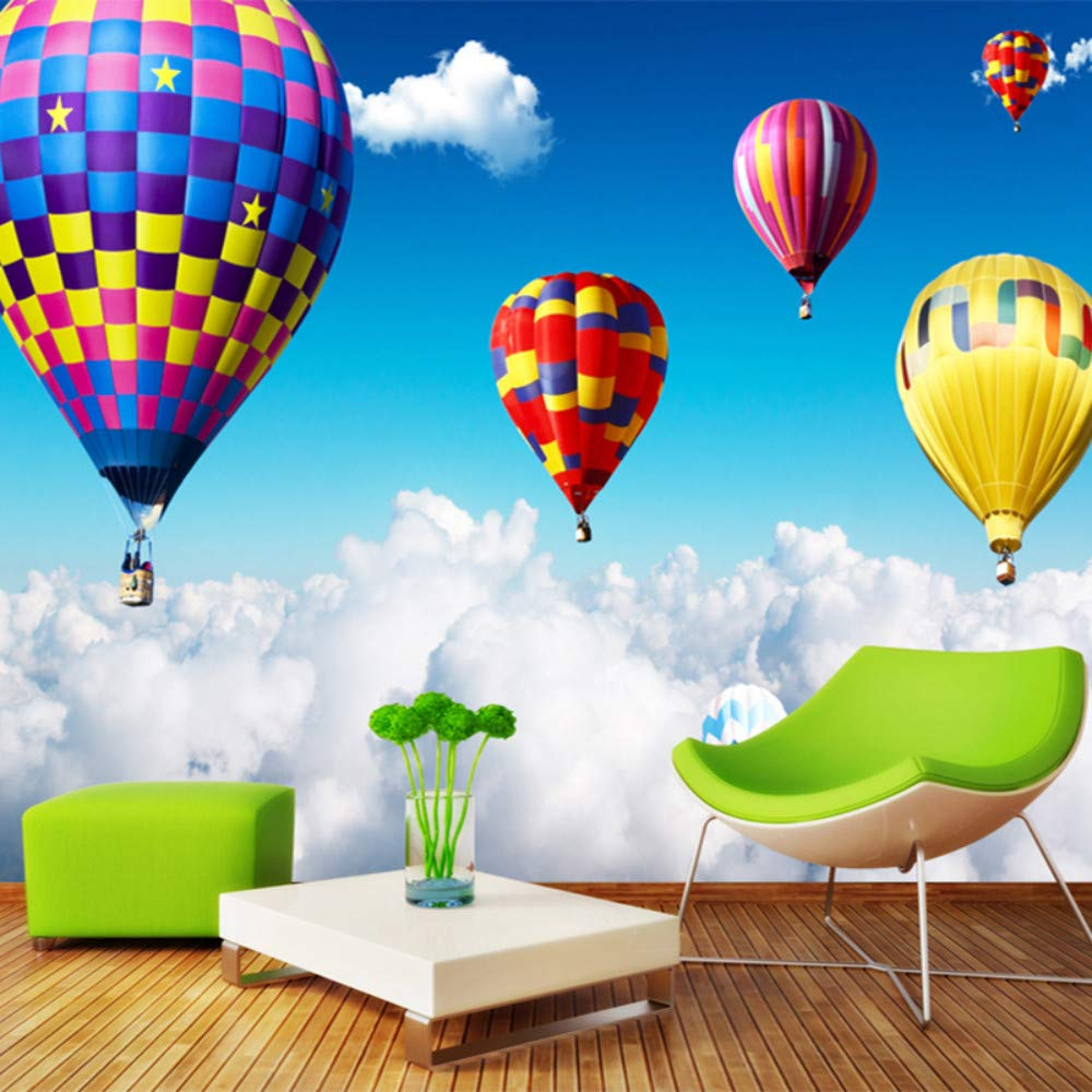 Mznm 3D Wall Mural Air Hot Balloon On The Clouds Photo Wallpaper for Kids Children's Bedroom Wall Paper Home Decor 3D Room Landscape-120X100Cm