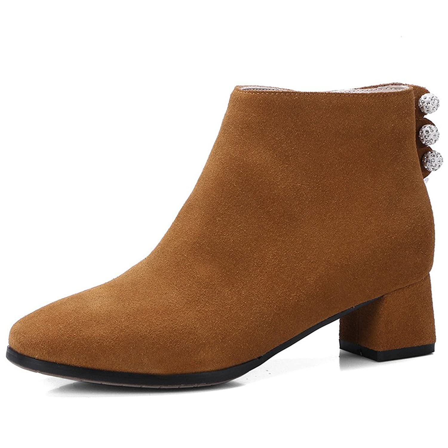 Nine Seven Suede Leather Women's Round Toe Chunky Heel Side Zip Handmade Decorated Dressy Ankle Boots