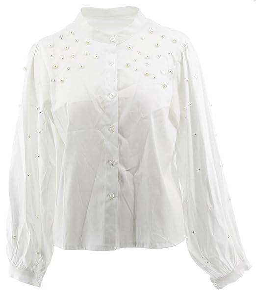 La Blusa de la Blusa de Las Mujeres con Las Perlas Elegante Cuello Redondo de Punto