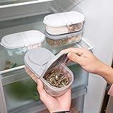 【双格储物盒】双格有盖厨房食品杂粮密封罐 多功能厨房冰箱塑料储物收纳盒 (双格储物盒均匀配色10个)