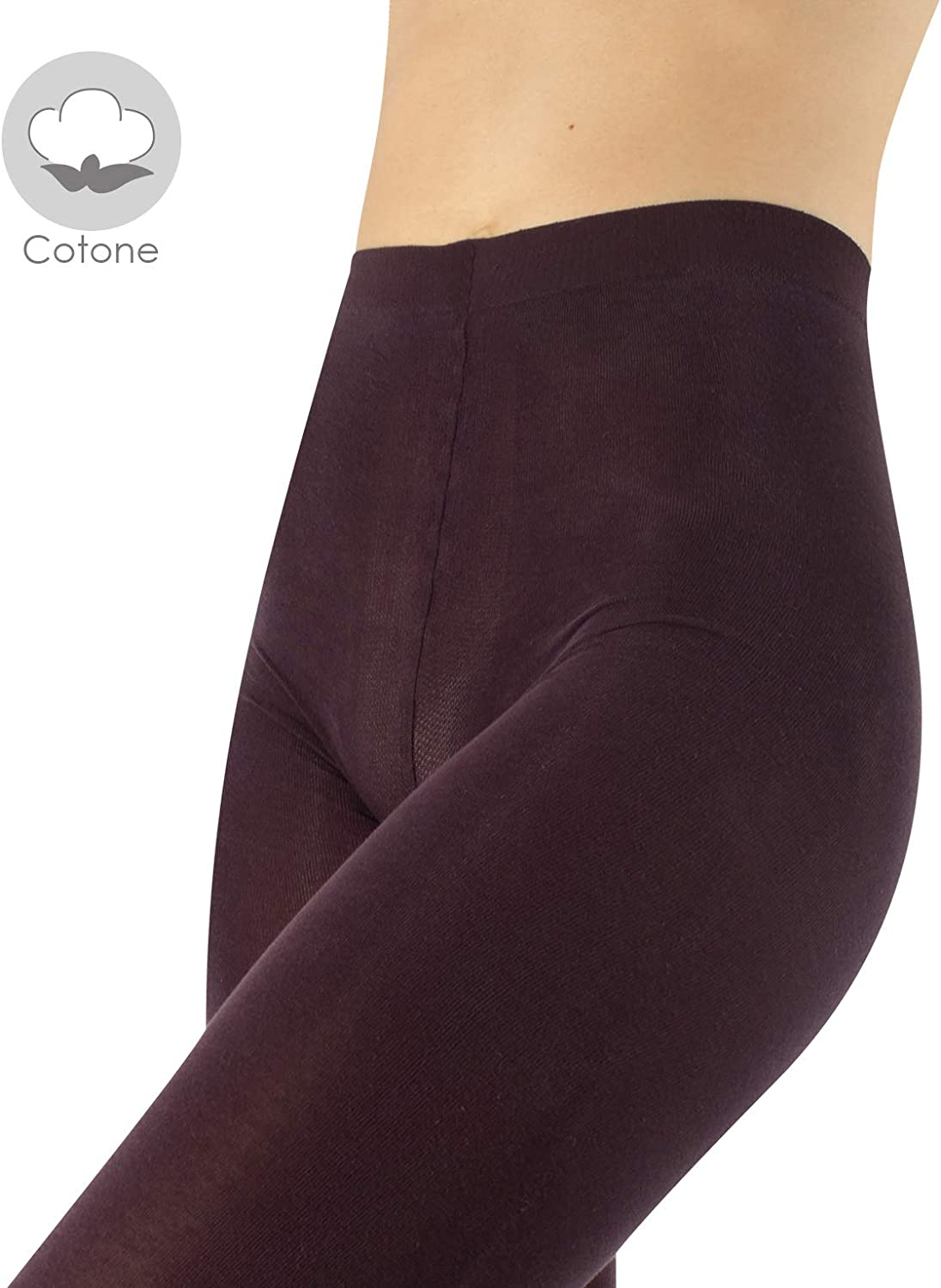 Wine S//M Made in Italy Black 100 DEN L//XL CALZITALY Cotton Thick Tights for Winter Daily Use