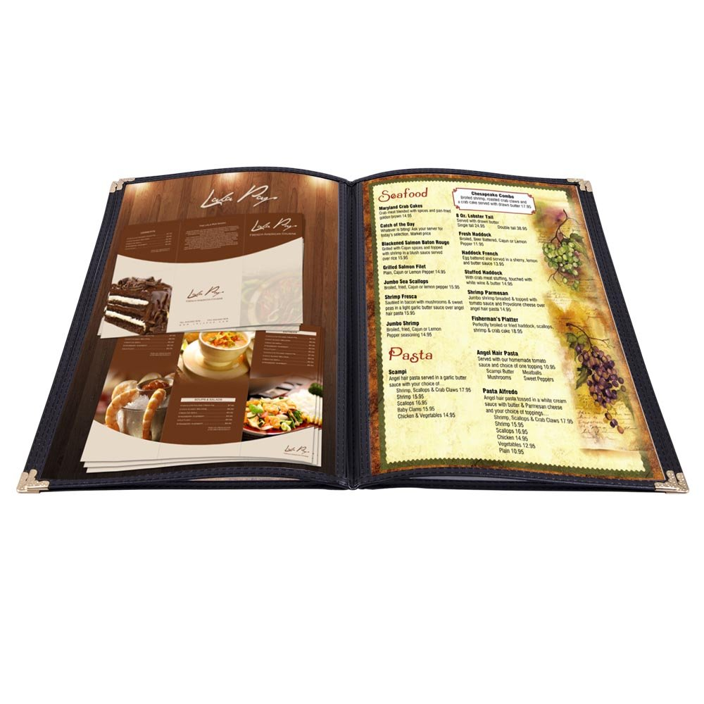 Yescom 20 Pack 8.5''x14'' 4 Page 8 View Menu Covers Black Trim Legal Size for Food Restaurant Cafe Bar