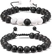 Lava Rock Bracelet - 8mm Stone Tiger Eye Bracelet Lava Rock Bracelet , Stress Relief Yoga Beads Adjustable Bracelet Anxiety