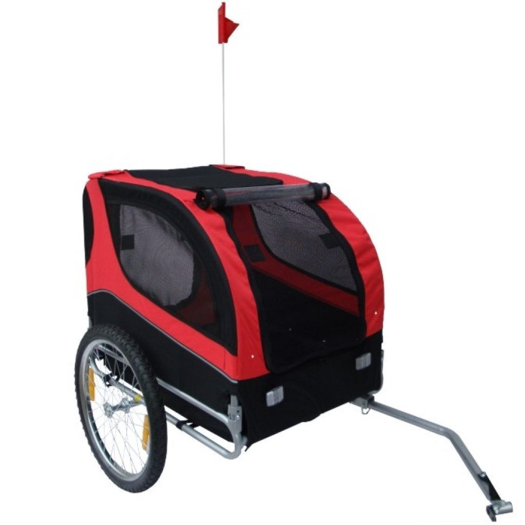 Anself Red Pet Dog Bicycle Trailer with Swivel Wheel