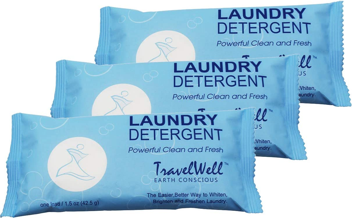TRAVELWELL Individually Wrapped Travel Size Powder Laundry Detergent,1.5 Ounce per Bag,200 Bags per Case Hotel Toiletries Amenities Disposable Laundry Stain Remover Soap Powder