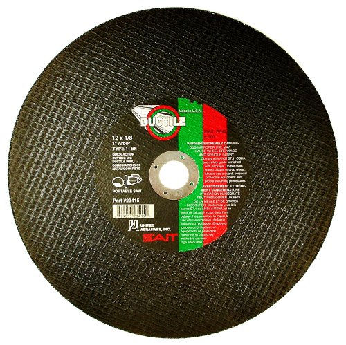 United Abrasives- SAIT 23415 Type 1 12-Inch x 1/8-Inch x 1-Inch 6300 Max RPM Ductile Portable Saw Cut-Off Wheel, 10-Pack ()
