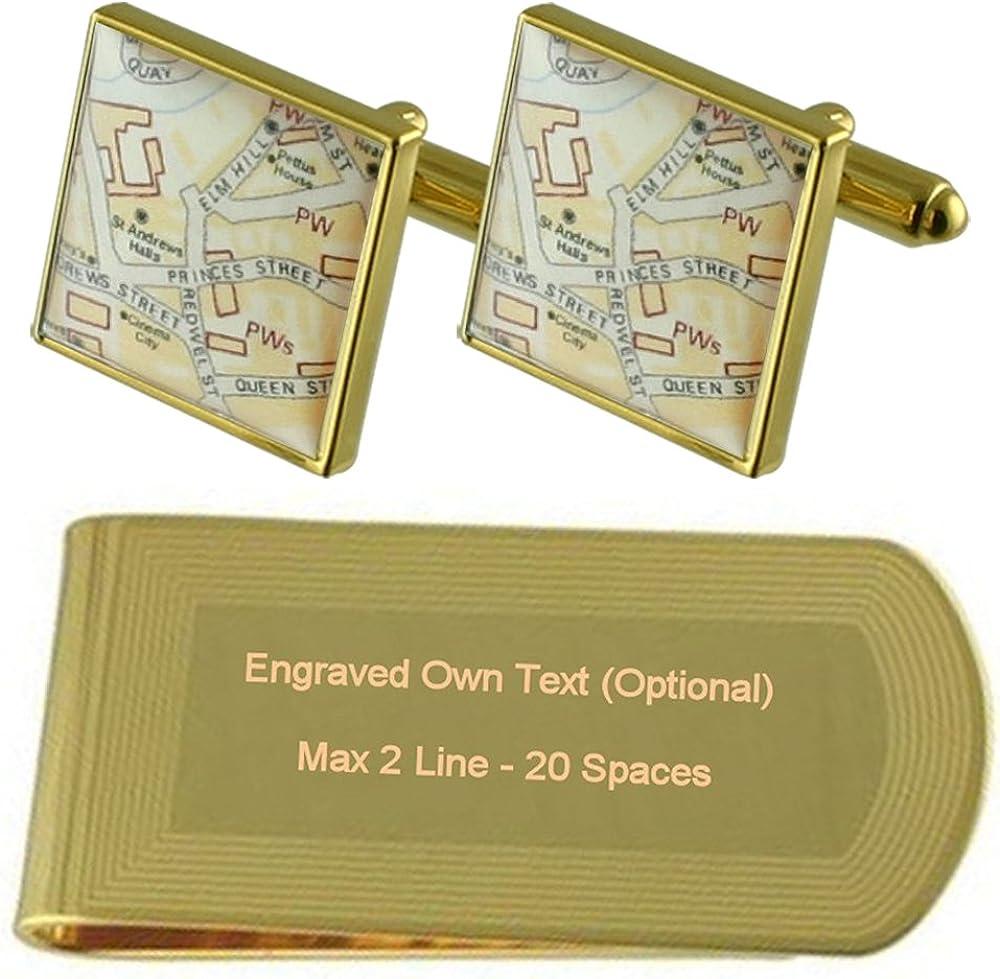 Select Gifts Mapa Personalizado Personalizado Personalizado Tono Oro Gemelos Money Clip Grabado Set de Regalo