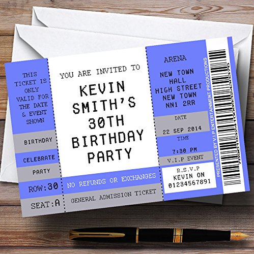 Blue Vip Spoof Concert Ticket Stub Theme Personalized Birthday Party Invitations