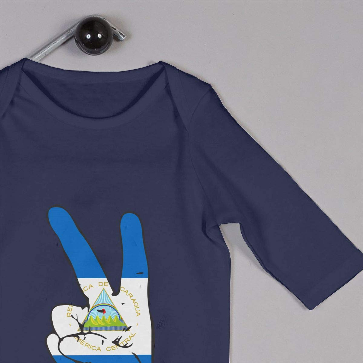Mri-le1 Baby Girl Coverall Peace Sign of Nicaragua Flag Kid Pajamas