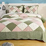 100% Cotton 3 Piece Quilt Set Full/Queen Reversible Floral Printed Quilt Bedspread Set Vintage Country Patchwork Coverlet with Pillow Shams Bedding Set Lightweight Hypoallergenic & Fade-resistant
