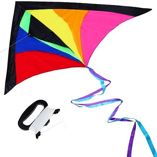 Anpro Grand Cerf-volant Coloré Jeu de Plein Air cerf-volants enfants Cerf Volant Adultet, Enorme Avec 60 m Fil de Voler Prêt à Voler, Vole Bien -Léger et Solide