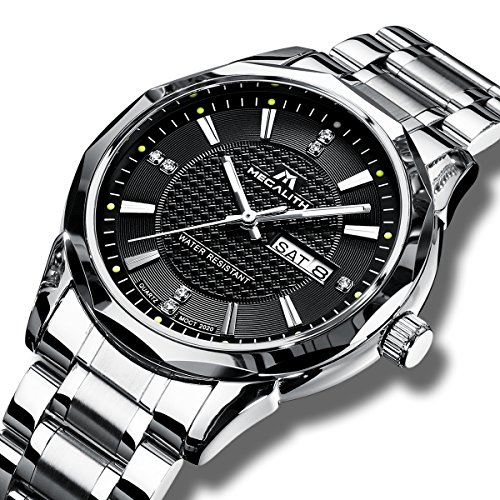 MEGALITH Mens Black Wrist Watches Men Waterproof Silver Stainless Steel Watches Day Date Calendar Tungsten Steel (Mens Calendar Day Date Watch)